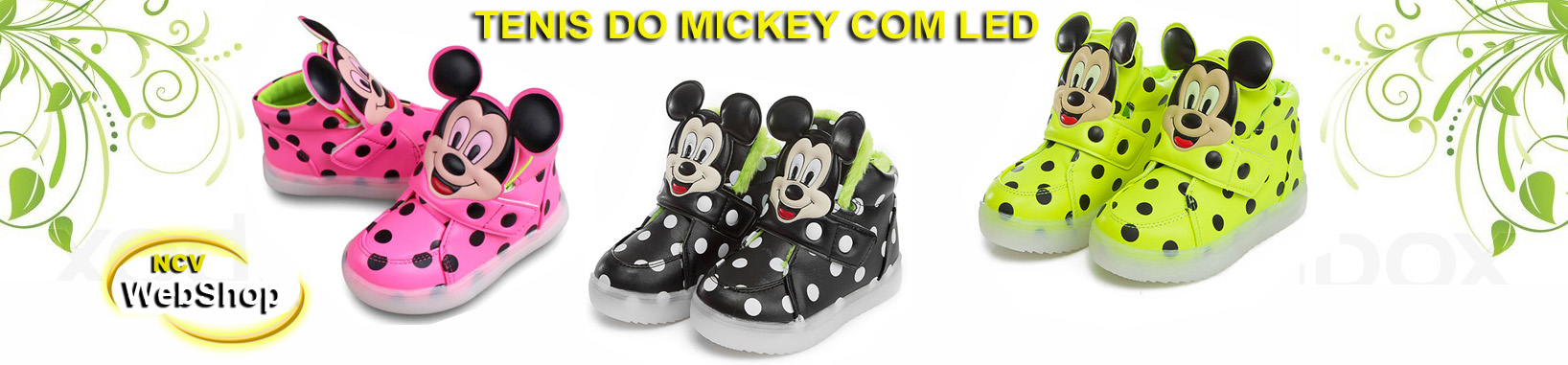Tênis do mickey com luz de led - Tênis do mickey com led - Tênis do mickey com luz - Tênis do mickey com luzes